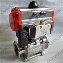 帶24V電磁閥氣動片式球閥 快裝/螺紋/焊接/法蘭