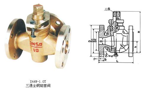 一, x44w 三通全铜旋塞阀适用范围 x44w 三通全铜旋塞阀的结构简单图片
