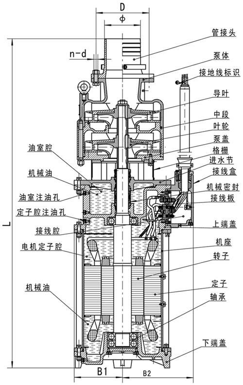 潜水清水泵结构图
