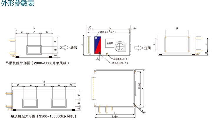 换热效果显著 kd(x)吊顶式新风机组送风方式的选择产品外形参数表图片