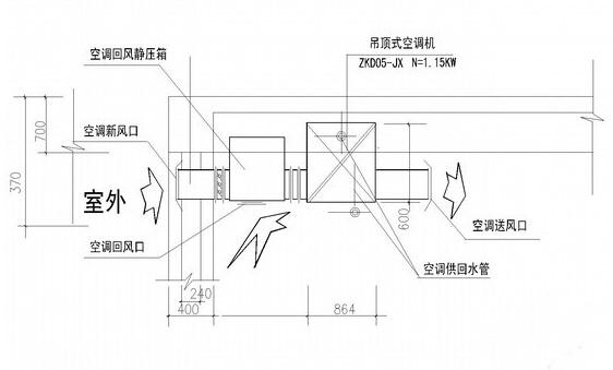 kd(x)-5.0吊顶空调机组结构合理机组安装示意图
