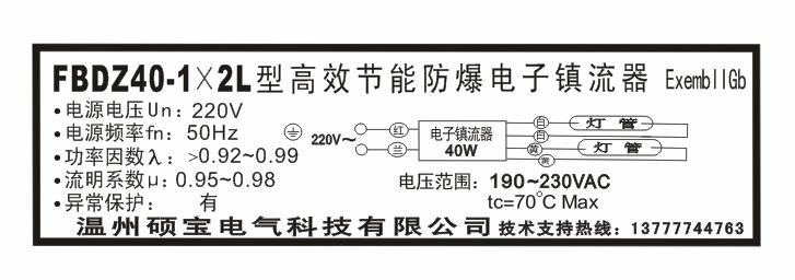 fbdz40-1x2l高效节能防爆电子镇流器接线图外形