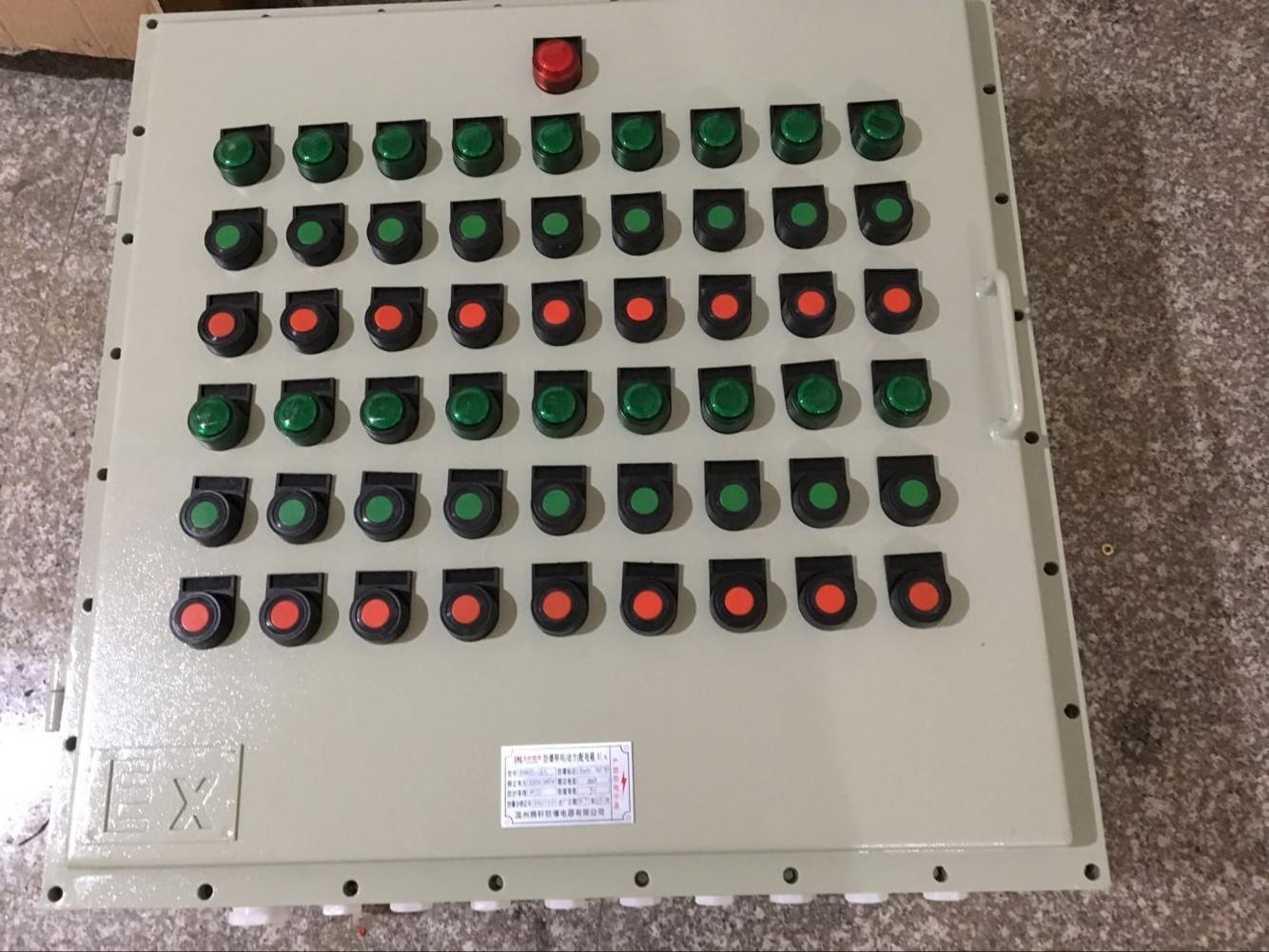 风机防爆控制按钮箱产品特点:   1.外壳采用ZL102铝合金压铸成型,表面高压静电喷塑,不锈钢外露紧固件;   2.具有防水、防尘等性能;   3.按钮、开关、指示灯、电流表等组成多功能,由用户自由选择;   4.内装防爆元件引进德国技术生产、美观精致、经久耐用;   5.